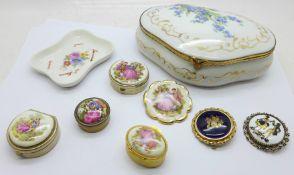 A Limoges porcelain trinket pot decorated with forget-me-nots, a Limoges pin dish, Limoges porcelain