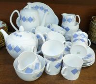 A Shelley Blue Harlequin six setting tea and coffee service, with tea and coffee pots, cream and