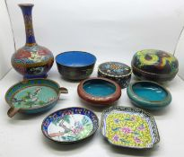 Nine items of cloisonne, most a/f