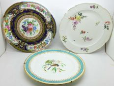 Three cabinet plates, Sevres, (cracked through the centre), Meissen, (chipped on the rim and