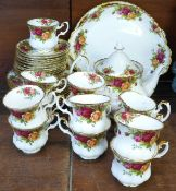 A Royal Albert Old Country Roses coffee set with small teapot, two cake plates, eleven cups,