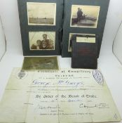 A United Navigation Committee Grimsby certificate, a photograph album including yachting, a Cunard