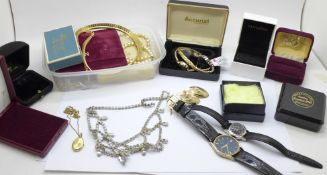 Costume jewellery and wristwatches