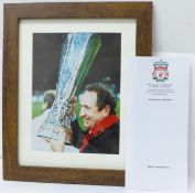 A framed signed photograph of Gerard Houllier with UEFA Cup