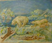 Dutch School, polar bears being attacked by a wolf, oil on canvas, indistinctly signed, 63 x
