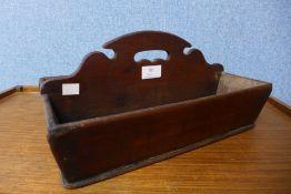A George III oak cutlery tray, 17cms h x 36cms l