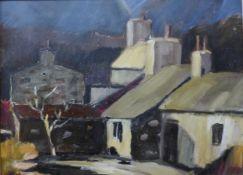 British Modernist School, town landscape, oil on board, 29 x 39cms, framed