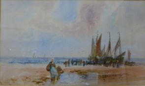 Frank Rousse, (fl. 1897-1917), figures on a beach with fishing boats, watercolour, 27 x 46cms,