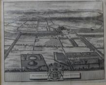 Two 18th Century engraved maps of Nottingham, 14 x 17cms, framed