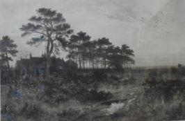 A signed Benjamin William Leader print, rural landscape, framed