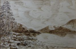 George Rogerson of Dundee, pair of Scottish loch landscapes, pen and ink, 9.5 x 14.5cms, framed