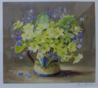 A signed Anne Cotterill print, still life of flowers in a jug, framed