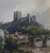 Walter Scott Wood, Richmond, Yorkshire, watercolour, 19 x 18cms, framed