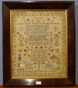 A Victorian sampler by Mary Ann Fletcher, aged 8, 1847, rosewood frame, , 67 x 57cms