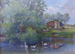 T. Battersby, duck pond, oil on board, 18 x 24cms, framed and an English School watercolour,
