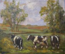 English School (early/mid 20th Century), landscape with cows in a field, oil on canvas, 51 x