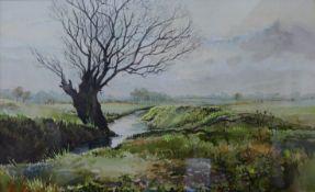 Michael Crawley, winter river landscape, watercolour, 22 x 35cms, framed