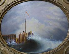 English School, shipping off the coast, oil on board, 19 x 24cms, framed