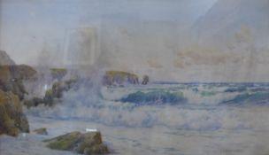 John Chapman Wallis, Constantine Bay, North Cornwall, watercolour, 40 x 69cms, framed