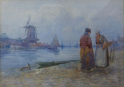 J. Brooks, Dutch figures by a river with windmill in the distance, watercolour, dated 1908, 22 x