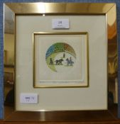 A signed G. Sils limited edition etching, Sol y Sombrya, 12 x 12cms, framed