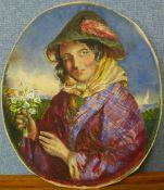 Continental School (19th Century), oval portrait of a gypsy girl, watercolour, 33 x 28cms, unframed