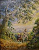 Continental School (19th Century), figure with a donkey on a path, oil on board, indistinctly
