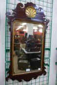A George II mahogany and parcel gilt framed mirror, 80cms h