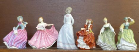 Five Royal Doulton Pretty Ladies figures and a Lladro figure, all boxed