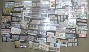 Stamps;-worldwide stamps on stock cards, sets and part sets, aviation, fish, tall ships, (some