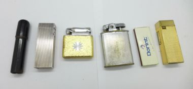 Five lighters including a Dunhill