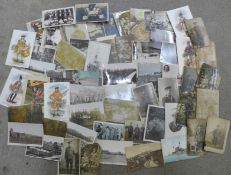 Approximately 60 military postcards, (some a/f)