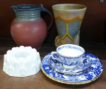 An Art Deco vase, a St. Agnes Pottery stoneware jug, a Shelley jelly mould and four items of Royal