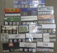 Seventeen presentation packs of GB mint stamps, Royal Mail and Post Office, one miniature sheet