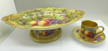 A Royal Worcester pedestal dish, hand decorated with fruit and signed T. Lockyer, (Thomas), 31.