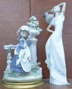 A Lladro figure of a girl, a/f, and one other Spanish figure, tallest 36cm