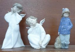 Two Lladro figures and a Nao by Lladro figure