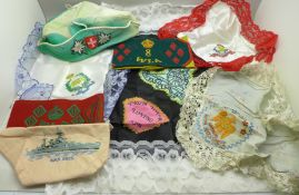 Sweetheart handkerchiefs including Royal Scots Greys, The West Riding and HMS Hood, two WLA