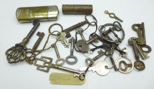 Two lighters and a collection of keys
