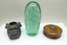 A Victorian glass dump, 15cm, a pewter match strike in the the form of bull dog, rim of liner a/f,