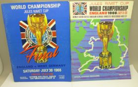 Two football programmes; 1966 World Cup Final and tournament programme