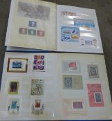 Stamps; worldwide miniature sheets, loose and on cover, in two stock books