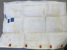 A collection of ephemera; file of indentures and other legal and property papers, 1795 onwards