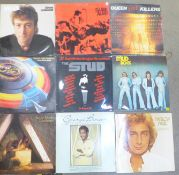 A collection of thirty-two LP records, Lennon, Tubular Bells, Iron Maiden, etc., (Ian Dury sleeve