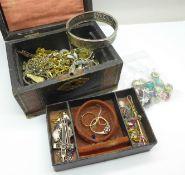 A jewellery box and costume jewellery