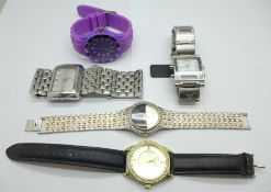 Five fashion wristwatches including D&G and Philip Persio