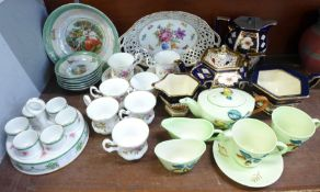 Royal Albert Moss Rose coffee cups and saucers, (7+6), a lustre fruit set, an egg cup stand, a
