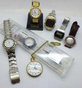 A Swatch Atlanta 1996 wristwatch, a Citizen quartz wristwatch and other watches