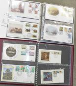 Stamps; GB silk first day covers in two albums, including Benham, (106)