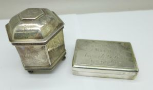 A silver plated snuff/tobacco box with inscription dated 1853, 7cm, and a plated hexagonal shaped